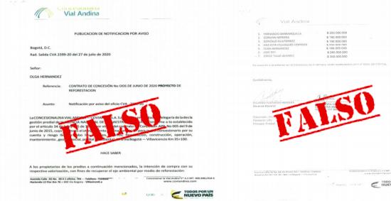Coviandina alerta a la comunidad sobre suplantación y falsedad en documentos para adquirir predios
